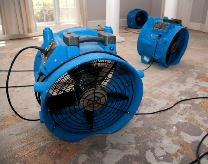 Air movers drying water damage